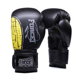Боксови ръкавици FORCE 1 черни с жълта шарка F-1600