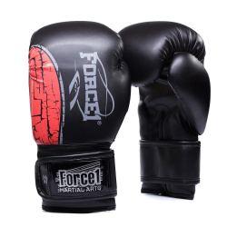 Боксови ръкавици FORCE 1 черни с червена шарка F-1600