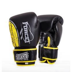 Боксови ръкавици FORCE 1 THAI черни с жълта шарка F-1600
