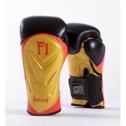 Боксови ръкавици от естествена кожа FORCE 1 черни със златно F1
