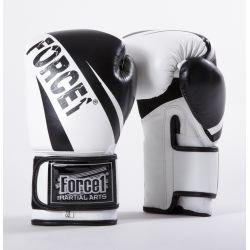 Боксови ръкавици от естествена кожа FORCE 1 бяло/черно  F3003