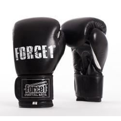 Боксови ръкавици от естествена кожа FORCE 1 черни с бял палец F1020