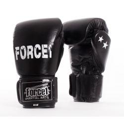 Боксови ръкавици от естествена кожа FORCE 1 черни F1026