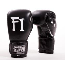 Боксови ръкавици от естествена кожа FORCE 1 черни F2099