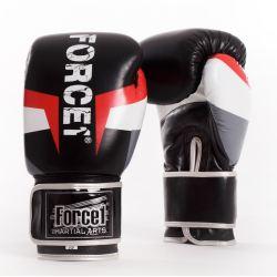 Боксови ръкавици от естествена кожа FORCE 1 черни с шарка F921