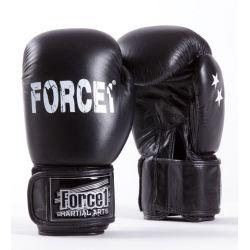 Боксови ръкавици от естествена кожа FORCE 1 черни F1014