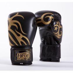 Боксови ръкавици от естествена кожа FORCE 1 черни с златна шарка F2008