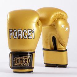 Боксови ръкавици от естествена кожа FORCE 1 златни F2002