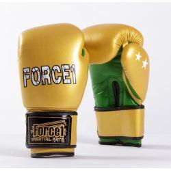 Боксови ръкавици от естествена кожа FORCE 1 златни с зелено F2002