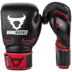 Боксови Ръкавици - Ringhorns Destroyer Boxing Gloves - Leather - Black / Red
