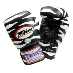 Боксови ръкавици от естествена кожа TWINS SPECIAL TIGER черни с бяло T1003