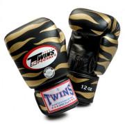 Боксови ръкавици от естествена кожа TWINS SPECIAL TIGER чернo с златно T1003