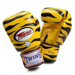 Боксови ръкавици от естествена кожа TWINS SPECIAL TIGER жълто с чернo T1003