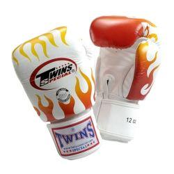 Боксови ръкавици от естествена кожа TWINS SPECIAL FIRE FLAME бяло T1007
