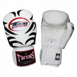 Боксови ръкавици от естествена кожа TWINS SPECIAL TATTOO бяло с чернo T1009