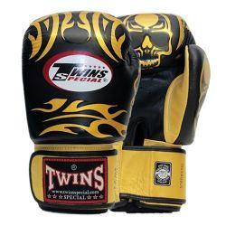 Боксови ръкавици от естествена кожа TWINS SPECIAL SKULLS черно със златно T1012