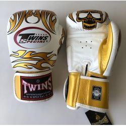 Боксови ръкавици от естествена кожа TWINS SPECIAL SKULLS бяло със златно T1012